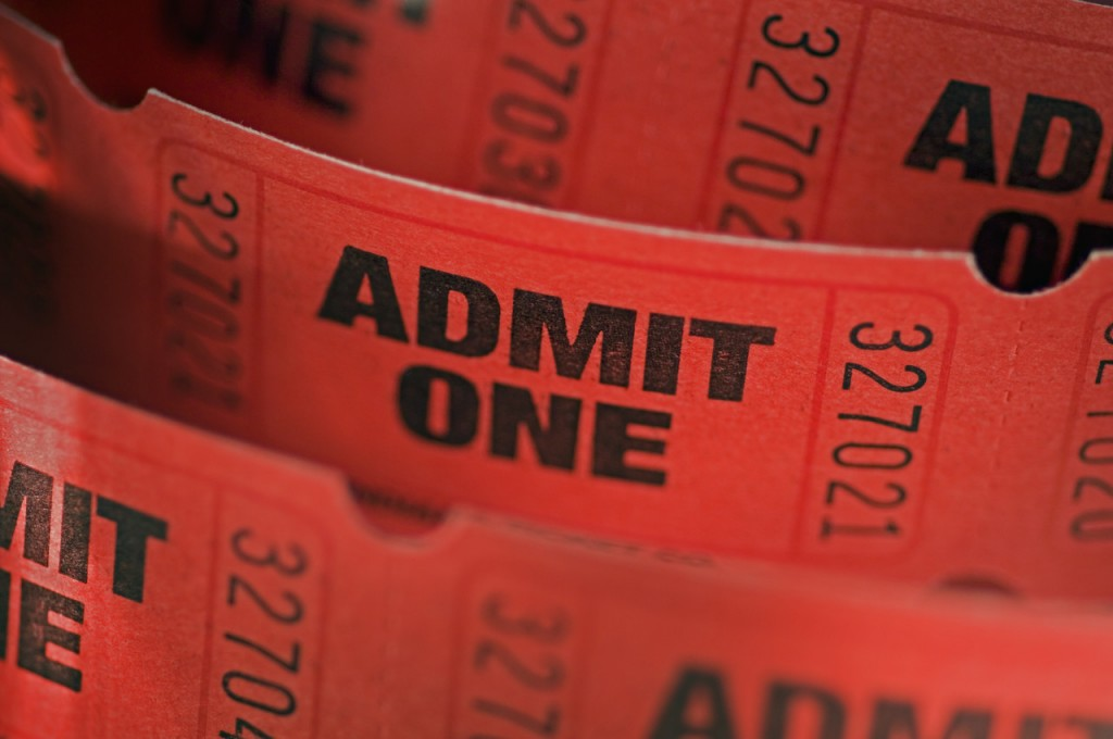 """Admit One"" Tickets --- Image by © Royalty-Free/Corbis"
